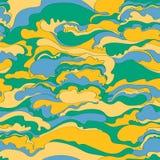 Teste padrão com a imagem da textura de creme de máscaras verdes, alaranjadas e azuis abstraia o fundo Fotos de Stock