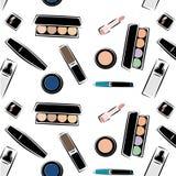 Teste padrão com imagens dos cosméticos, cosméticos para cuidados com a pele, cosméticos decorativos, no vetor Estilo da imagem d fotografia de stock