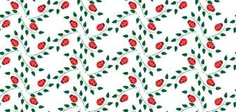 Teste padrão com joaninhas e folhas do verde Imagens de Stock Royalty Free