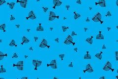 Teste padrão com menorah Menorah preto em um fundo azul ilustração do vetor