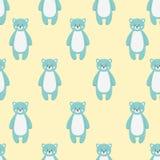 Teste padrão com o animal azul engraçado bonito do urso ilustração do vetor