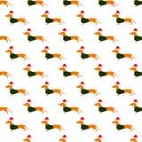 Teste padrão com o bassê no chapéu do Natal e no waistcoat verde Imagens de Stock
