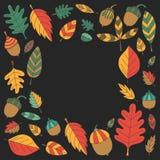 Teste padrão com o Linden da bolota de Mapple do carvalho das folhas de outono Foto de Stock Royalty Free