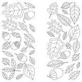 Teste padrão com o Linden da bolota de Mapple do carvalho das folhas de outono Fotografia de Stock Royalty Free