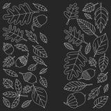 Teste padrão com o Linden da bolota de Mapple do carvalho das folhas de outono Fotos de Stock Royalty Free