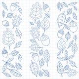 Teste padrão com o Linden da bolota do bordo do carvalho das folhas de outono Imagem de Stock