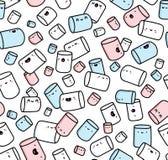 Teste padrão com os doces dos marshmallows ilustração do vetor