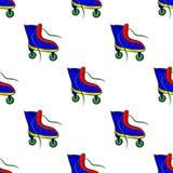 Teste padrão com os patins de rolo retros coloridos Imagens de Stock