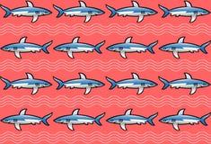 Teste padrão com os tubarões no fundo cor-de-rosa Fotos de Stock Royalty Free