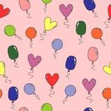 Teste padrão com os vários balões coloridos ilustração stock