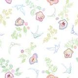 Teste padrão com pássaro e floral brancos ilustração do vetor