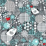 Teste padrão com pássaros, corações e flores da neve. Imagens de Stock Royalty Free