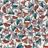 Teste padrão com partes do origâmi do vitral da aquarela ilustração do vetor