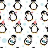 Teste padrão com pinguins Imagens de Stock Royalty Free