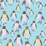 Teste padrão com pinguins da aquarela Foto de Stock Royalty Free