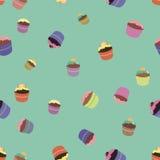 Teste padrão com queques brilhantes ilustração stock