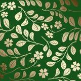 Teste padrão com ramos do ouro - fundo decorativo do inclinação do vetor verde ilustração stock