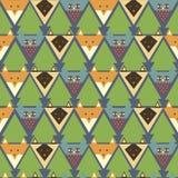 Teste padrão com raposa estilizado, coruja, gato ilustração stock