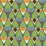 Teste padrão com raposa estilizado, coruja, gato Fotografia de Stock Royalty Free