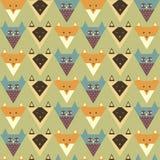 Teste padrão com raposa estilizado, coruja, gato Imagem de Stock Royalty Free
