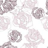 Teste padrão com rosas e pássaros Fotografia de Stock Royalty Free