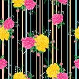 Teste padrão com rosas e stripes2-01 Fotografia de Stock