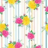 Teste padrão com rosas e stripes-01 Imagens de Stock Royalty Free