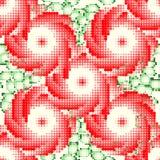 Teste padrão com rosas vermelhas e folhas do verde Bordado do estilo Ilustração do vetor Foto de Stock