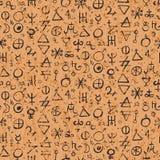 Teste padrão com símbolos da alquimia ilustração stock