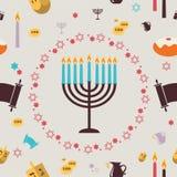Teste padrão com símbolos do Hanukkah ano novo feliz 2007 Imagens de Stock