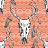 Teste padrão com scull, penas e ornamento dos cervos Foto de Stock Royalty Free