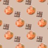 Teste padrão com tangerinas e chocolate no fundo bege ilustração stock