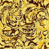 Teste padrão com a textura da imagem de máscaras do fumo douradas, marrons, amarelas e do ocre Imagem de Stock