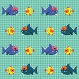 Teste padrão com tubarões e peixes Imagens de Stock Royalty Free