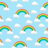Teste padrão com um arco-íris e as nuvens Fotos de Stock Royalty Free