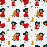 Teste padrão com uma menina bonita e seus brinquedos, ursos, raposas ilustração do vetor