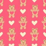 Teste padrão com urso bonito e corações encantador ilustração royalty free