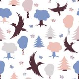Teste padrão com woodpeckers Fotos de Stock