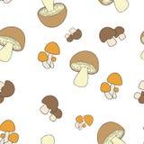 Teste padrão comestível dos cogumelos sem emenda Imagens de Stock