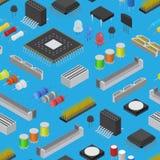 Teste padrão componente do fundo da placa de circuito eletrônico do computador em uma vista isométrica azul Vetor ilustração stock