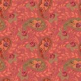 Teste padrão cor-de-rosa brilhante sem emenda com paisley e flores Cópia do vetor Foto de Stock