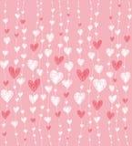 Teste padrão cor-de-rosa com corações Fotos de Stock Royalty Free
