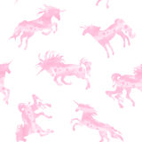 Teste padrão cor-de-rosa da aquarela do unicórnio Fotografia de Stock Royalty Free