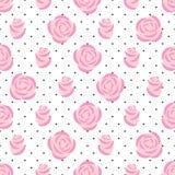 Teste padrão cor-de-rosa das rosas no fundo dos às bolinhas Fotos de Stock Royalty Free