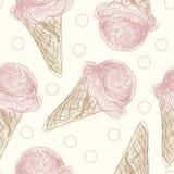 Teste padrão cor-de-rosa do cone de gelado Imagens de Stock Royalty Free