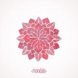 Teste padrão cor-de-rosa do laço da aquarela Elemento do vetor mandala Fotografia de Stock