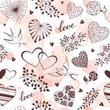 Teste padrão cor-de-rosa dos corações ilustração do vetor