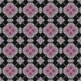 Teste padrão cor-de-rosa e preto da flor do quadrilátero Fotografia de Stock Royalty Free