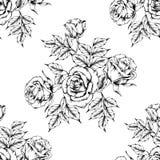 Teste padr?o cor-de-rosa sem emenda com flores do esbo?o ilustração do vetor