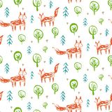 Teste padrão criançola com as raposas do esboço na floresta ilustração do vetor